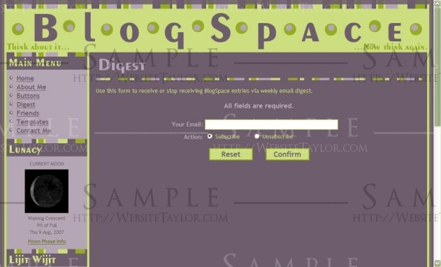 BlogSpace: Digest Subscription Page (Blog, August 2007)