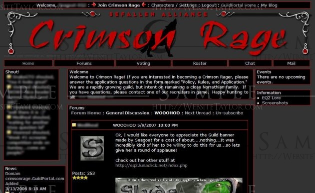 Crimson Rage: Main Page (May 2007)
